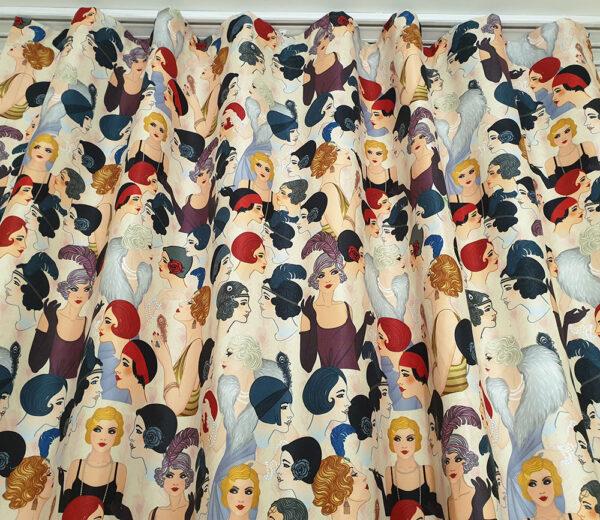 Vintage Kadınlar Desenli Fon Perde