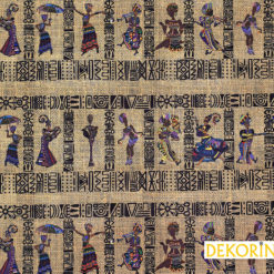 Afrikalı Kadınlar Desenli Döşemelik Kumaş