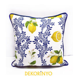 Limon Çiçeği Desenli Biyeli Yastık