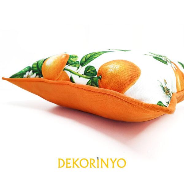 Portakal Desenli Biyeli Yastık