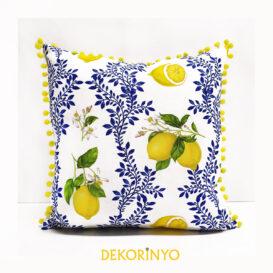 Limon Çiçeği Desenli Ponponlu Yastık