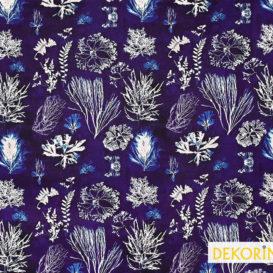 indigo mercan desenli döşemelik kumaş
