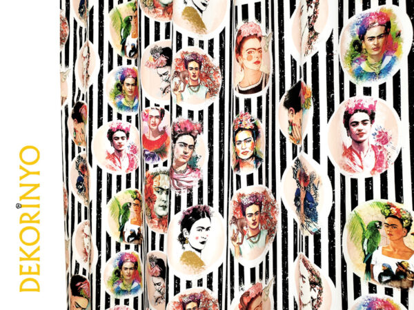 Frida Pencereleri Desenli Fon Perde