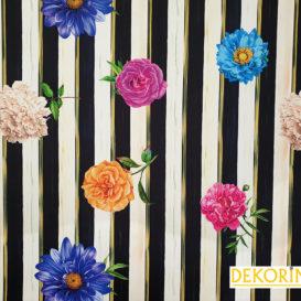 Çizgili Çiçek Desenli Döşemelik Kumaş