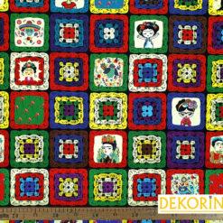 Örgü Efektli Frida Desenli Döşemelik Kumaş