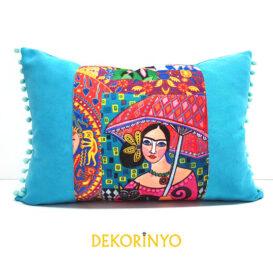 Şemsiyeli Frida Desenli Dikdörtgen Kırlent