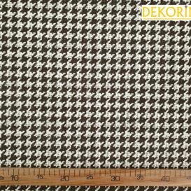 Kahverengi Krem Kaz Ayağı Desenli Kumaş