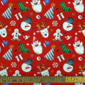 Noel Baba ve Kardan Adam Desenli Kumaş