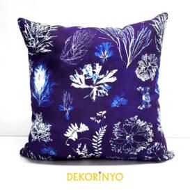 indigo batik mercan desenli kırlent