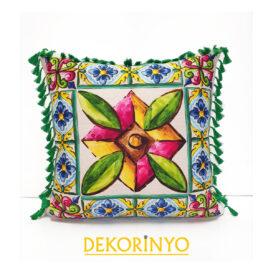 Fayans Özbek Çiçek Desenli Yastık