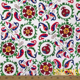 Özbek Çiçek Desenli Döşemelik Kumaş
