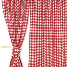 Kırmızı Beyaz Pötikare Desenli Perde