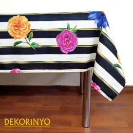 Çizgili Çiçek Desenli Masa Örtüsü