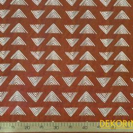 Kızıl Kahve Piramitler Desenli Döşemelik Kumaş