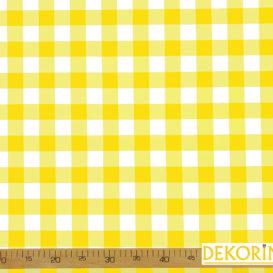 Sarı Pötikare Desenli Döşemelik Kumaş