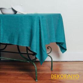 Turkuaz Renkli Masa Örtüsü