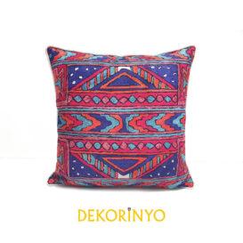 Etnik İşleme Batik Desenli Biyeli Kırlent