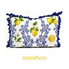 Limon Çiçeği Desenli Püsküllü Dikdörtgen Kırlent