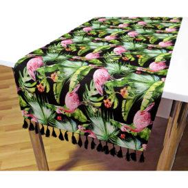 Tropikal Flamingolar Desenli Püsküllü Runner