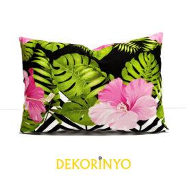 Tropikal Pembe Çiçekler Desenli Dikdörtgen Kırlent