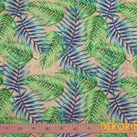 Çuval Zeminli Palmiye Yaprağı Desenli Döşemelik Kumaş