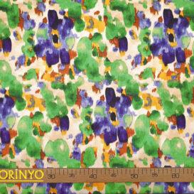 Sulu Boya Batik Çiçekler Desenli Kumaş