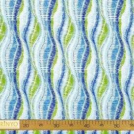 Yeşil Mavi Dalgalı İkat Desenli Kumaş