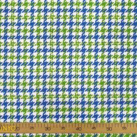 Mavi Yeşil Kaz Ayağı Desenli Kumaş